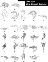 DXF Bird & Insect Designs 1