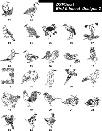 DXF Bird & Insect Designs 2