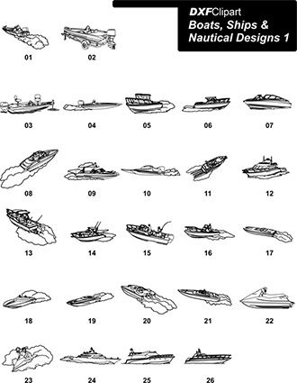 DXF Boats, Ships & Nautical Designs 1