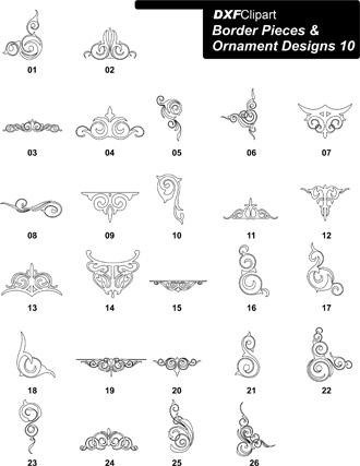 DXF Border Pieces & Ornament Designs-10