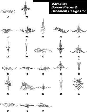 DXF Border Pieces & Ornament Designs-17
