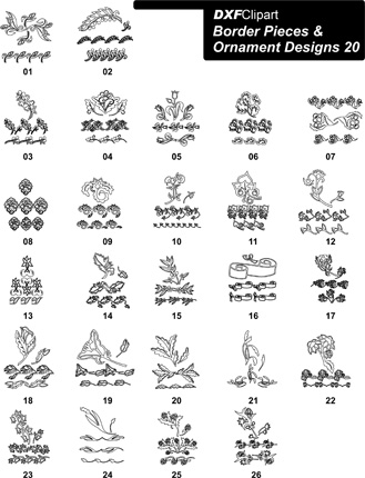 DXF Border Pieces & Ornament Designs-20