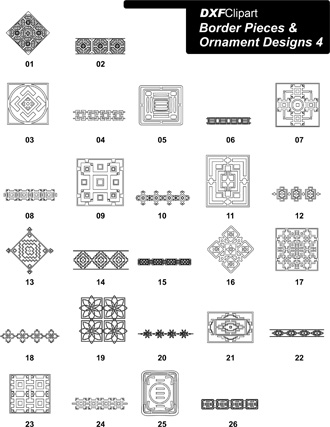 DXF Border Pieces & Ornament Designs 4