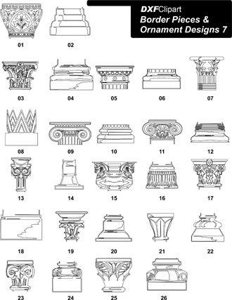 DXF Border Pieces & Ornament Designs 7
