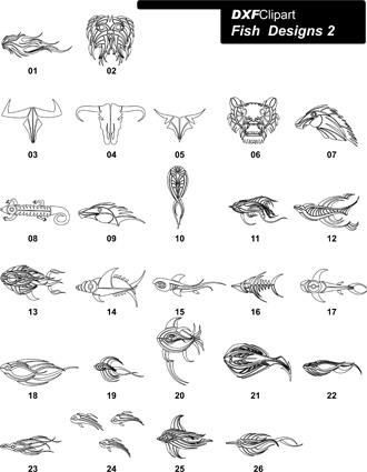 DXF Fish Designs File 2