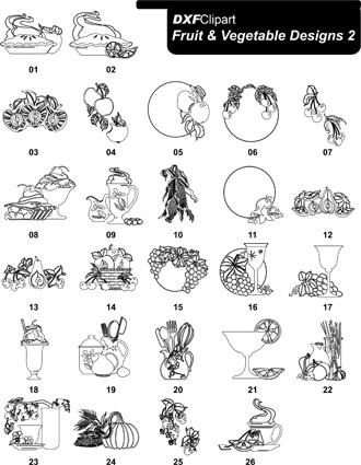DXF Fruit & Vegetable Designs 2