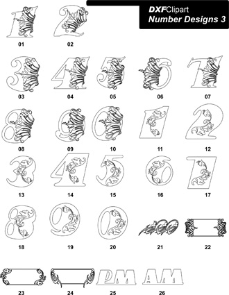 DXF Number Designs 3