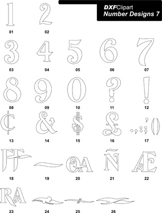 DXF Number Designs 7