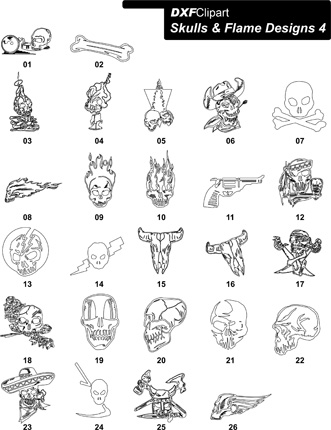 DXF Skulls & Flame Designs 4