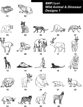 DXF Wild Animal & Dinosaur Designs 1