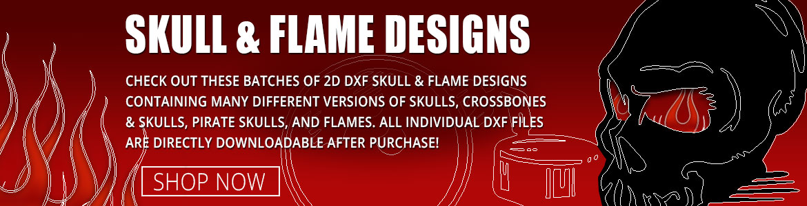 Skull and Flames DXF Clipart