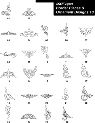 DXF Border Pieces & Ornament Designs-10