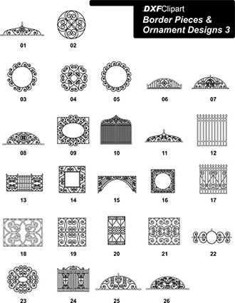 DXF Border Pieces & Ornament Designs 3