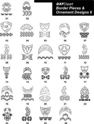 DXF Border Pieces & Ornament Designs 6