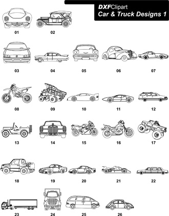 DXF Car & Truck Designs 1