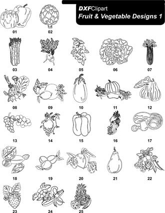 DXF Fruit & Vegetable Designs 1