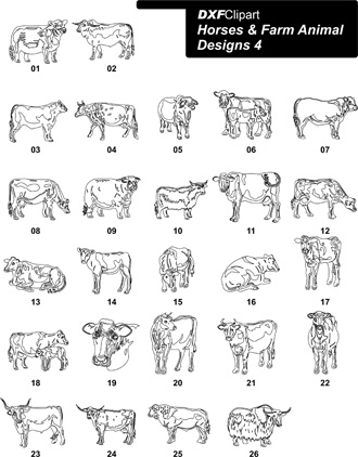 DXF Horses & Farm Animal Designs 4