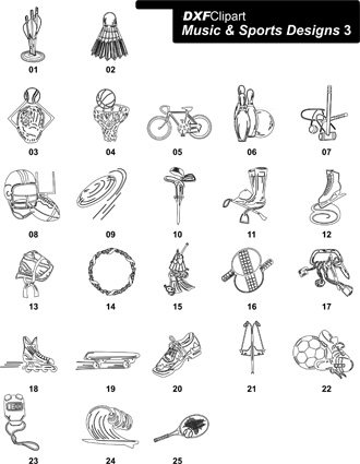 DXF Music & Sports Designs 3
