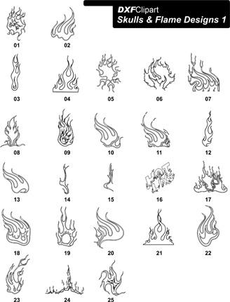 DXF Skulls & Flame Designs 1