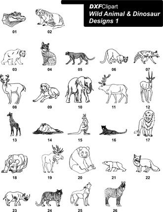 DXF Wild Animal & Dinosaur Designs 1