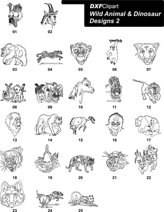 DXF Wild Animal & Dinosaur Designs 2
